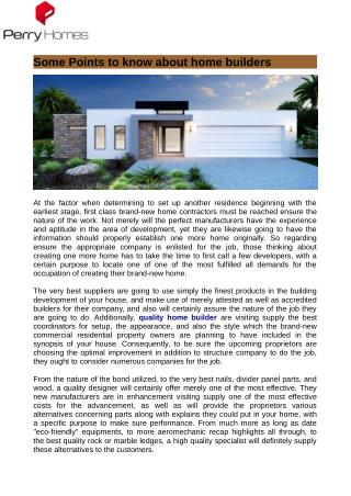 Some Points to know about home builders