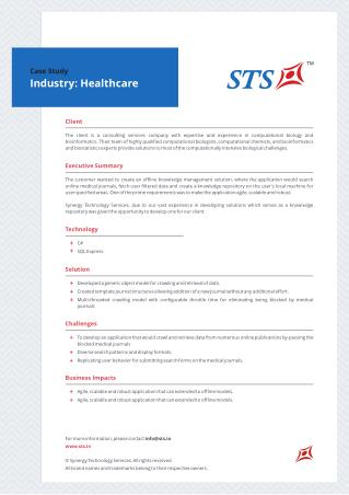 Case Study - Offline Knowledge Management Solution for a Leading Bioinformatics Consulting Company
