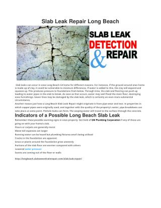 Slab Leak Repair Long Beach