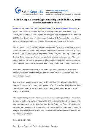 Global Chip on Board Light Emitting Diode Industry 2016 Market Research Report