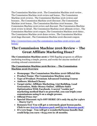 The Commission Machine 2016 review - exclusive bonus of The Commission Machine 2016