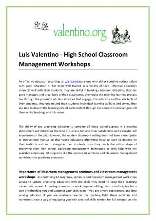 Luis Valentino - High School Classroom Management Workshops