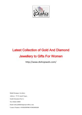 Latest Collection of Gold And Diamond Jewellery to Gifts For Women