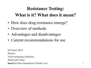 Resistance Testing:  What is it What does it mean