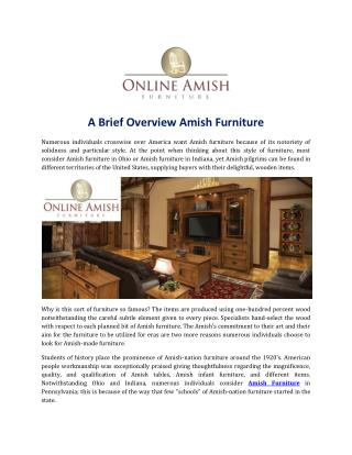 A Brief Overview Amish Furniture