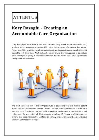 Kory Razaghi on Creating an Accountable Care Organization