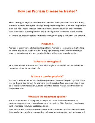 How can Psoriasis Disease be treated?