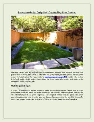 Brownstone Garden Design NYC- Creating Magnificent Gardens