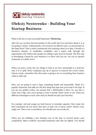 Oleksiy Nesterenko - Building Your Startup Business