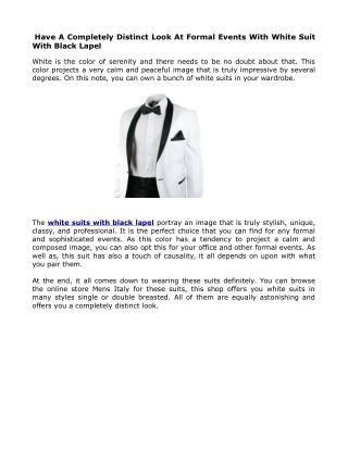 Get Mens White Suit With Black Lapel