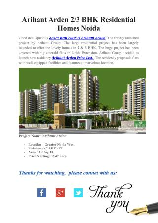Buy Economical Homes in Noida Arihant Arden