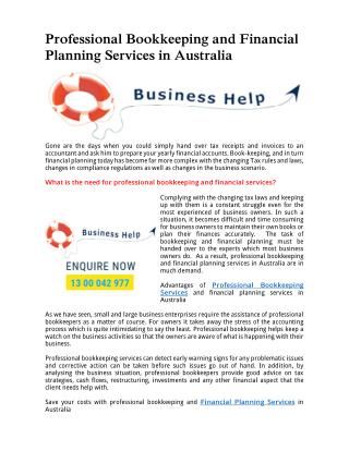 Professional Bookkeeping and Financial Planning Services in Australia