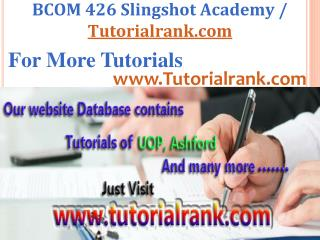 BCOM 426 Slingshot Academy / Tutorialrank.Com