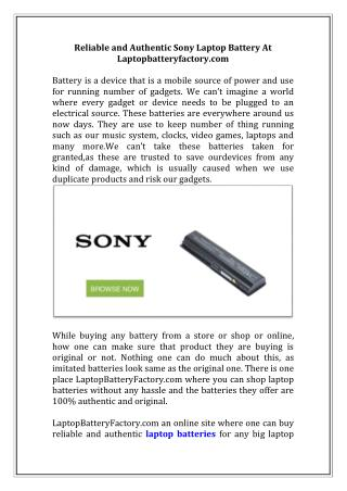 Reliable and Authentic Sony Laptop Battery