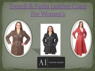 Trench & Parka Leather Coats For Women's