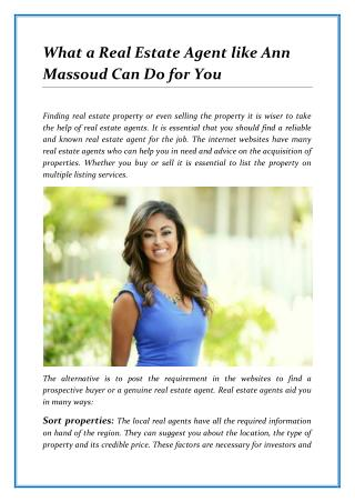 What a Real Estate Agent like Ann Massoud Can Do for You