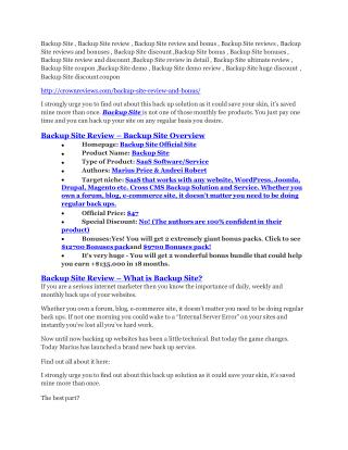 Backup Site review - (free) jaw-drop bonuses