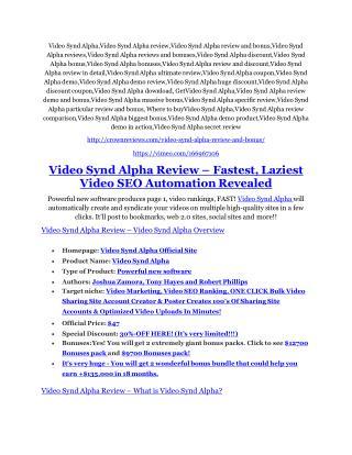 Video Synd Alpha Review & (Secret) $22,300 bonus