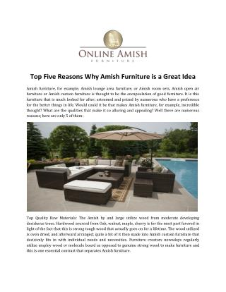 Top Five Reasons Why Amish Furniture is a Great Idea
