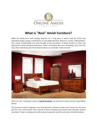 "What is ""Real"" Amish Furniture?"