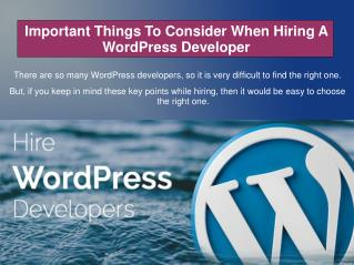 Important Things To Consider When Hiring A WordPress Developer