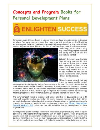 Concepts and Program Books for Personal Development Plans