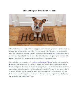 How to Prepare Your Home for Pets