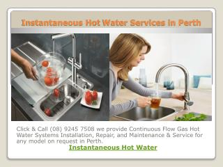 Instantaneous Hot Water Services in Perth