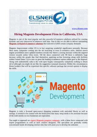 Hiring Magento Development Firm from California, USA