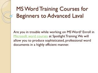 MS Word Training Courses for Beginners to Advanced Laval