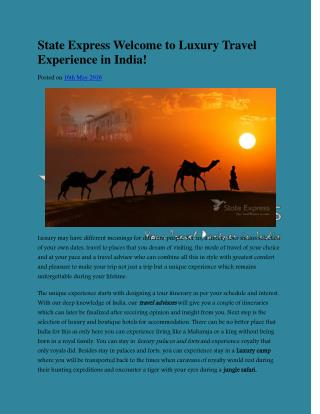 State Express Welcome to Luxury Travel Experience in India!