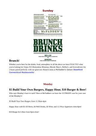 Stamford CT Restaurants - Daily Specials Happy Hour Menu