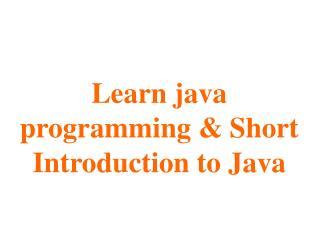 learn java | short introdution to java