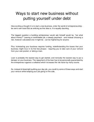 Ways to start new business without putting yourself under debt