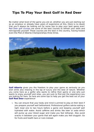 Tips To Play Your Best Golf In Red Deer