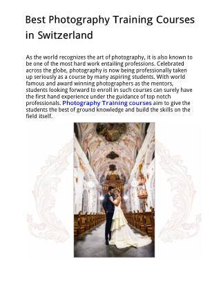 Best Photography Training Courses in Switzerland
