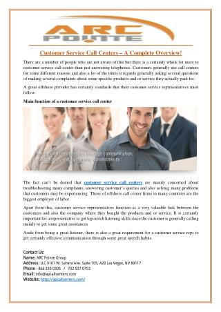 Customer Service Call Centers – A Complete Overview!