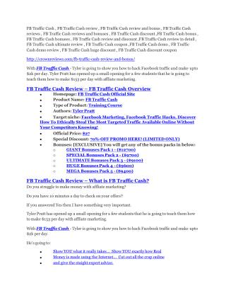 FB Traffic Cash review - a top notch weapon