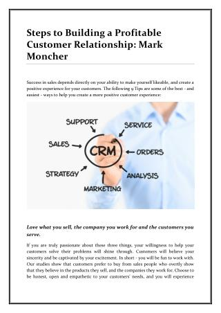 Steps by Mark Moncher to Building a Profitable Customer Relationship