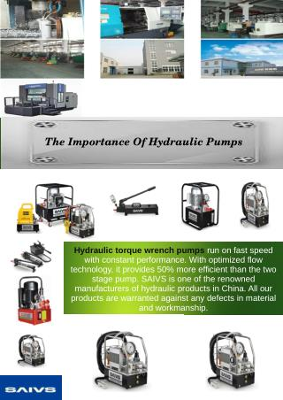 The Importance Of Hydraulic Pumps
