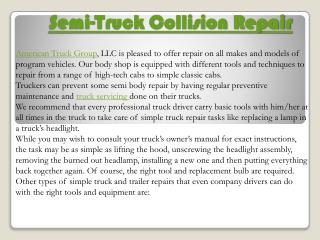 American Truck Group - Semi - Truck Collision Repair