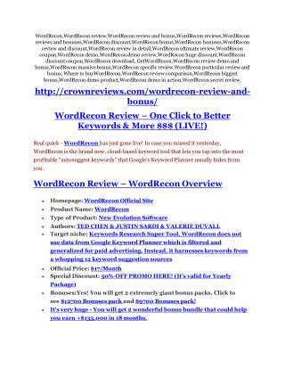 WordRecon review - WordRecon (MEGA) $23,800 bonuses