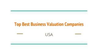 Top Best Business Valuation Companies In USA