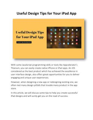 Useful Design Tips for Your iPad App