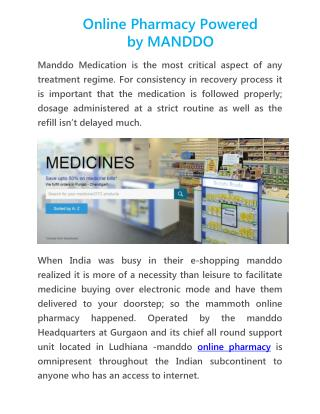 Online Pharmacy Powered by MANDDO