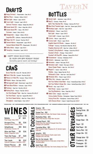 Drinks Menu at TAVERN on third – Happy Hour Bars NYC