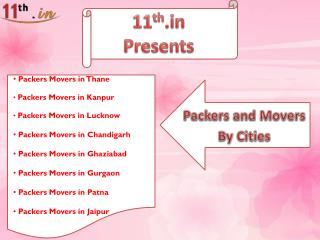 Best services of Packers and Movers available in different Cities.