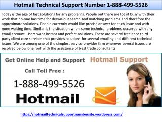 Hotmail Technical Support Number 1-888-499-5526