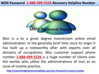 MSN Password 1-888-499-5526 Recovery Helpline Number | MSN Password Recovery Number