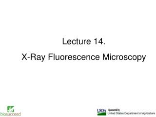 Lecture 14. X-Ray Fluorescence Microscopy